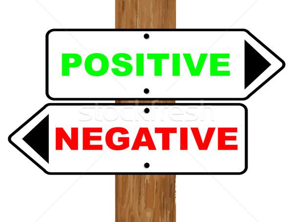 Positive negative Zeichen fixiert Holz Pol Stock foto © Bigalbaloo