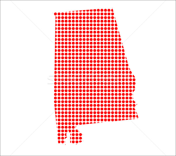 Red Dot Map of Alabama Stock photo © Bigalbaloo