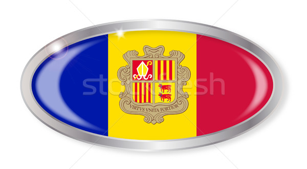 Андорра флаг овальный кнопки серебро изолированный Сток-фото © Bigalbaloo