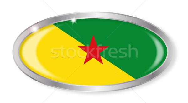 Francia zászló ovális gomb ezüst izolált Stock fotó © Bigalbaloo