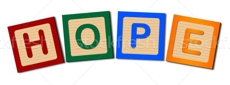 Lettere speranza raccolta legno ortografia parola Foto d'archivio © Bigalbaloo