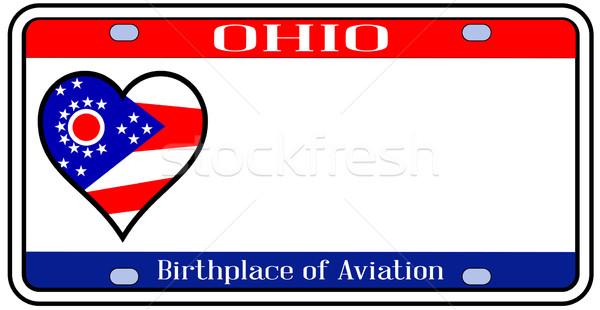 Огайо номерной знак цветами флаг иконки белый Сток-фото © Bigalbaloo