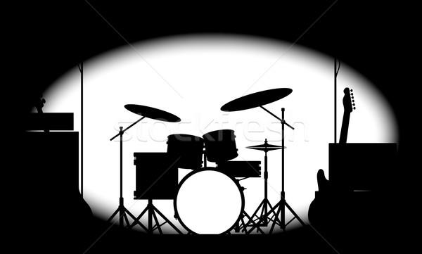 Metà rock band poster silhouette rock Foto d'archivio © Bigalbaloo
