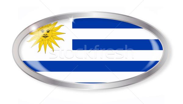Uruguay bayrak oval düğme gümüş yalıtılmış Stok fotoğraf © Bigalbaloo