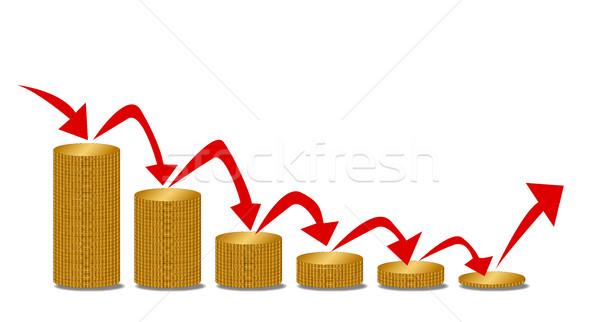 падение деньги шаги монетами размер Стрелки Сток-фото © Bigalbaloo