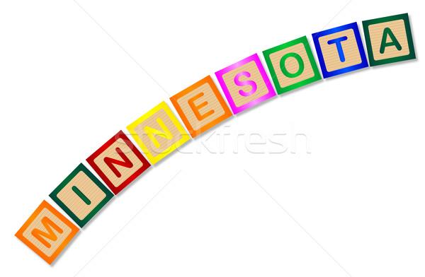 Minnesota litery kolekcja pisownia biały Zdjęcia stock © Bigalbaloo