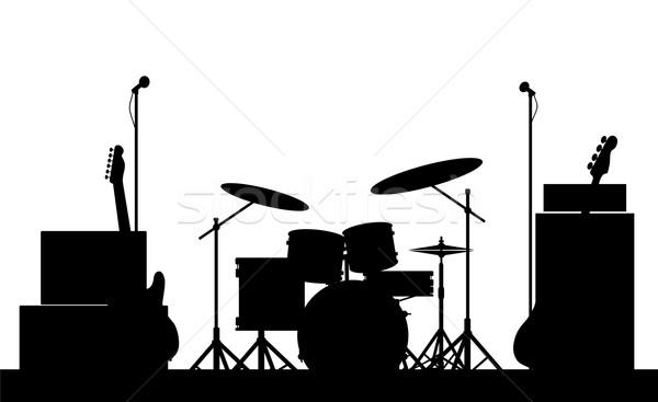 Rock band silhouette rock fase isolato Foto d'archivio © Bigalbaloo