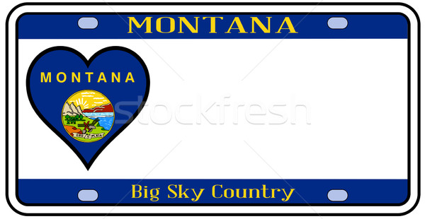 Montana placa colores bandera iconos blanco Foto stock © Bigalbaloo