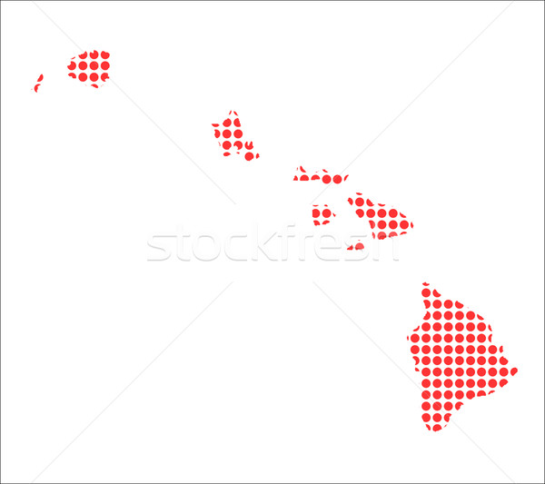 Red Dot Map of Hawaii Stock photo © Bigalbaloo