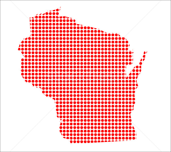 Red Dot Map of Wisconsin Stock photo © Bigalbaloo