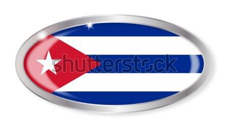 Куба флаг овальный кнопки серебро кубинский Сток-фото © Bigalbaloo