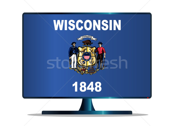флаг телевизор экране компьютера компьютер контроля синий Сток-фото © Bigalbaloo