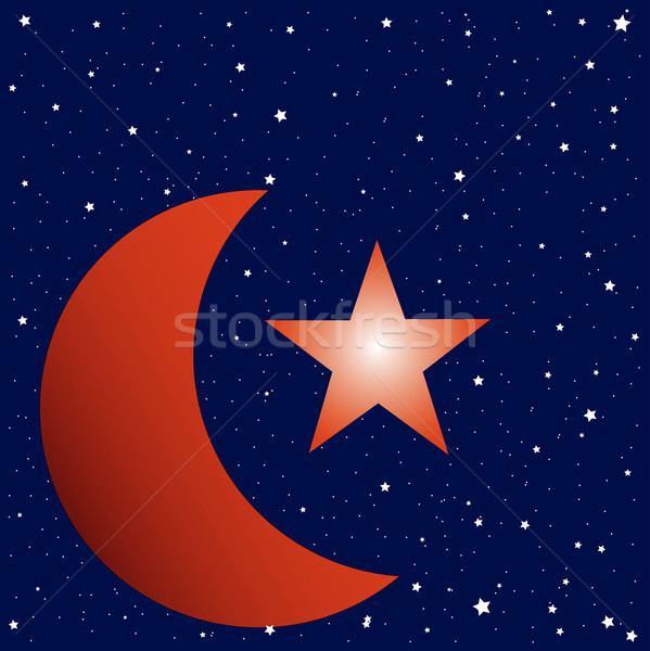 Crescent Moon and Star Studded Sky Stock photo © Bigalbaloo