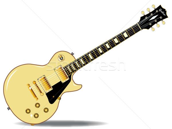 Stock fotó: Lp · gitár · kő · zsemle · krém · izolált