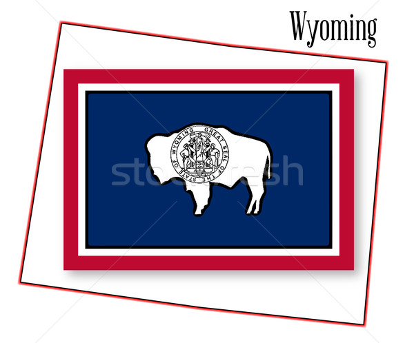 Wyoming State Map and Flag Stock photo © Bigalbaloo