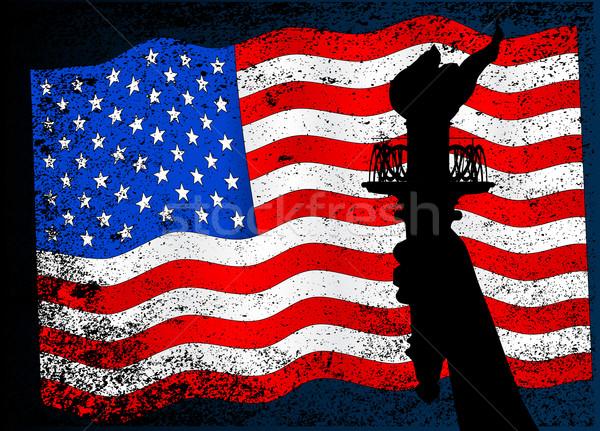 Estátua liberdade tocha estrelas grunge Foto stock © Bigalbaloo