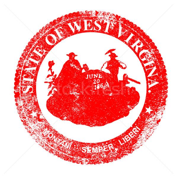 Nyugat-Virginia fóka bélyeg pecsét fehér piros Stock fotó © Bigalbaloo