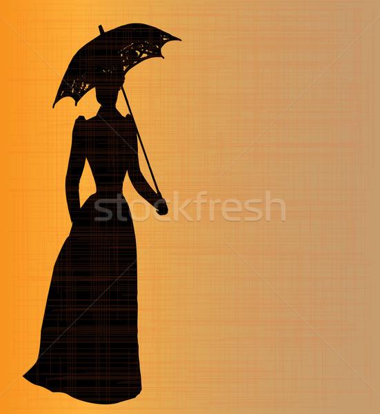 Bayan siluet tipik çağ grunge turuncu Stok fotoğraf © Bigalbaloo