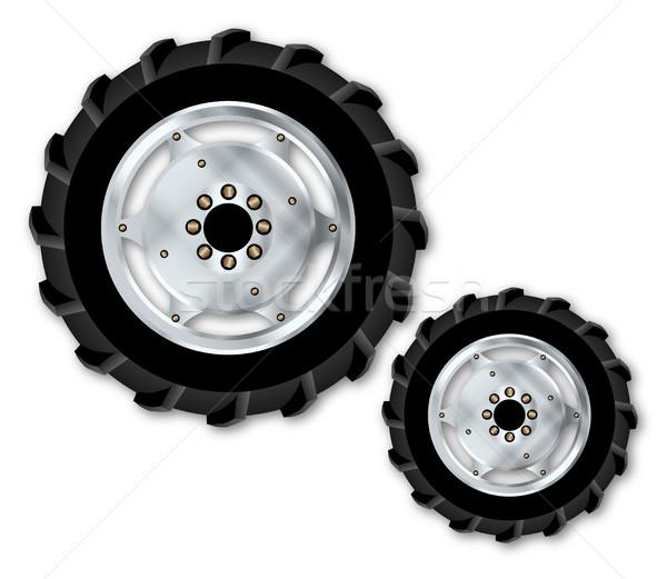 Frente tractor ruedas blanco arte Foto stock © Bigalbaloo