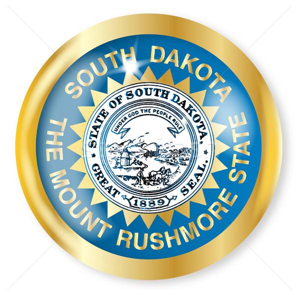Dél-Dakota zászló gomb arany fém körkörös Stock fotó © Bigalbaloo