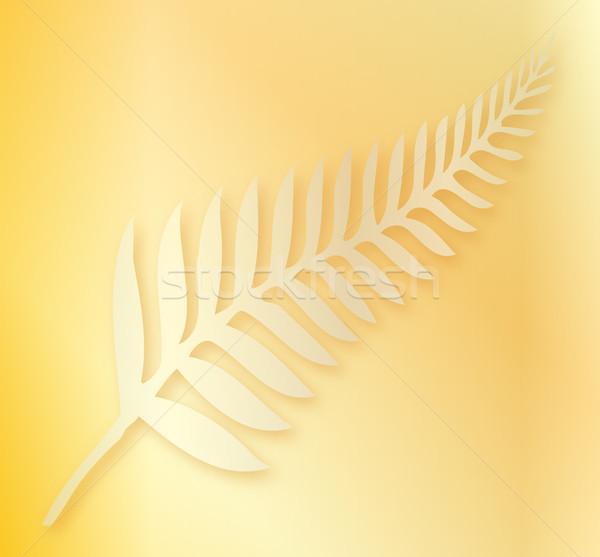 Argent fougère Nouvelle-Zélande silhouette emblème feuille Photo stock © Bigalbaloo
