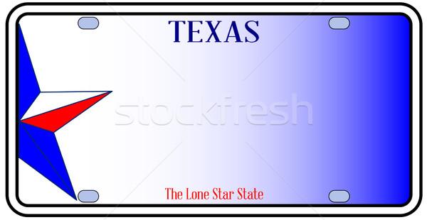 Техас номерной знак красный белый синий Сток-фото © Bigalbaloo