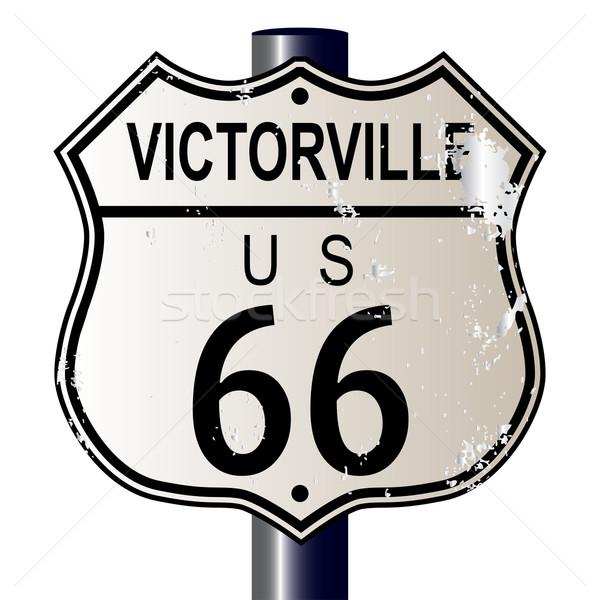 Route 66 felirat közlekedési tábla fehér legenda útvonal Stock fotó © Bigalbaloo