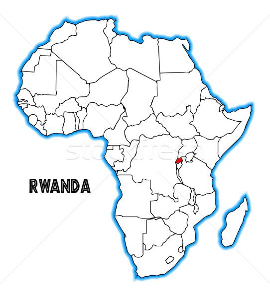 Rwanda carte Afrique blanche rouge Photo stock © Bigalbaloo