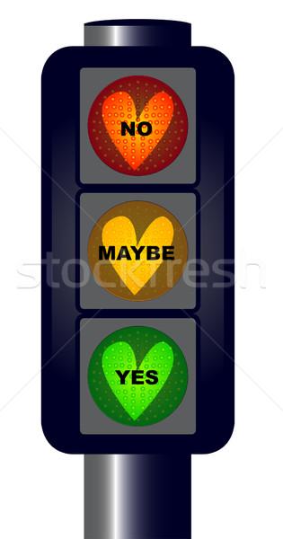 Stockfoto: Ja · geen · verkeerslichten · harten · tekst · witte