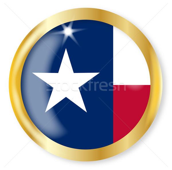 得克薩斯州 旗 鈕 黃金 金屬 商業照片 © Bigalbaloo