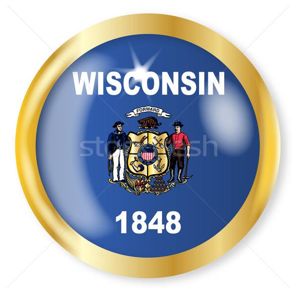 Wisconsin bayrak düğme altın Metal Stok fotoğraf © Bigalbaloo