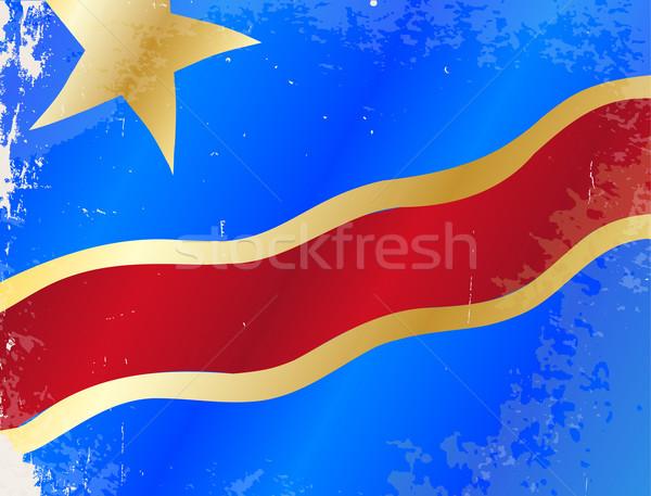 Demokratikus köztársaság Kongó zászló grunge afrikai Stock fotó © Bigalbaloo