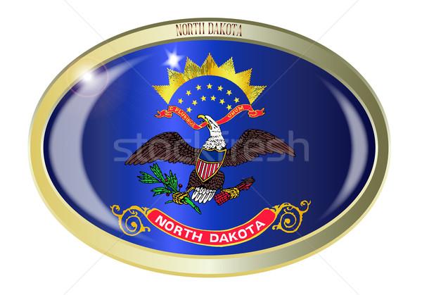 Kuzey Dakota bayrak oval düğme Metal yalıtılmış Stok fotoğraf © Bigalbaloo