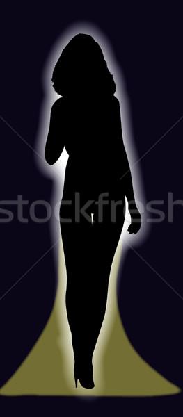 Meisje fase sexy vrouwelijke kunstenaar vrouw Stockfoto © Bigalbaloo