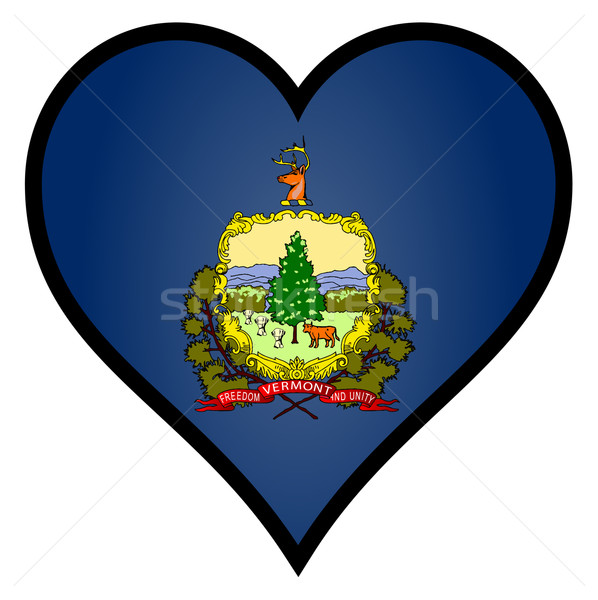 Sevmek Vermont bayrak kalp tüm beyaz Stok fotoğraf © Bigalbaloo