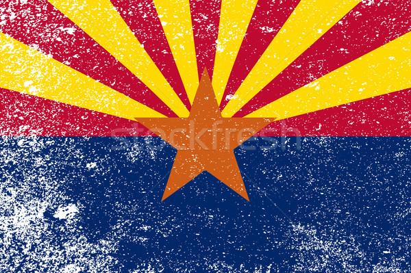 Arizona zászló grunge narancs kék piros Stock fotó © Bigalbaloo