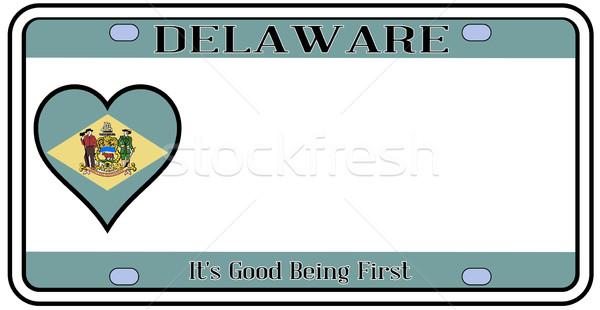 Делавэр номерной знак цветами флаг иконки белый Сток-фото © Bigalbaloo
