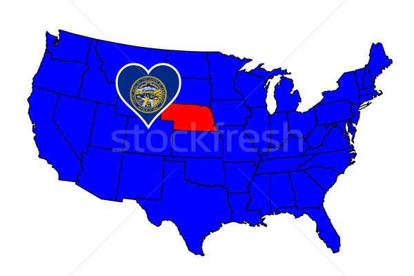 Nebraska ícone conjunto mapa Estados Unidos Foto stock © Bigalbaloo
