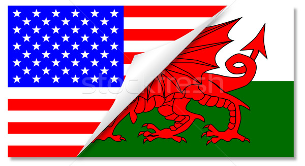 United States and welsh Flags Combined Stock photo © Bigalbaloo