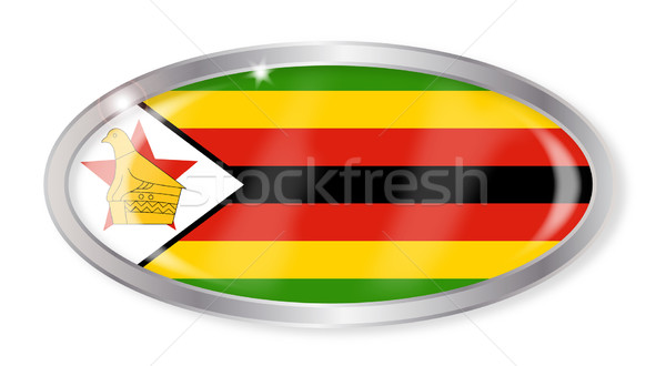 Zimbabwe Flag Oval Button Stock photo © Bigalbaloo