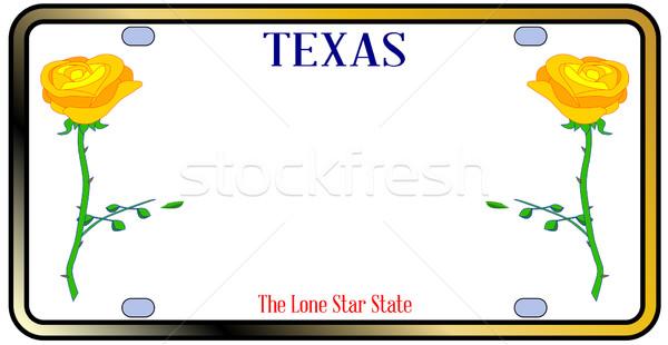 Texas amarelo rosa placa vermelho branco Foto stock © Bigalbaloo