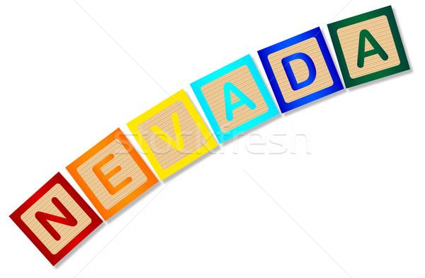 Nevada ahşap harfler toplama yazım beyaz Stok fotoğraf © Bigalbaloo