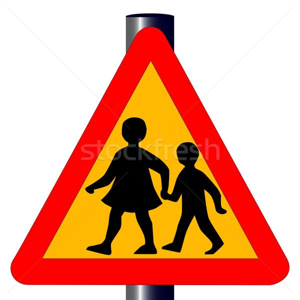 Enfants panneau de signalisation traditionnel ambre isolé blanche Photo stock © Bigalbaloo