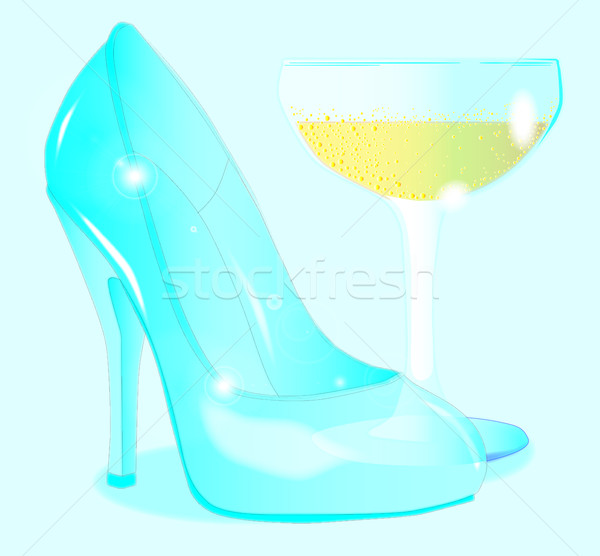 Champagne and Ladies Shoe Stock photo © Bigalbaloo
