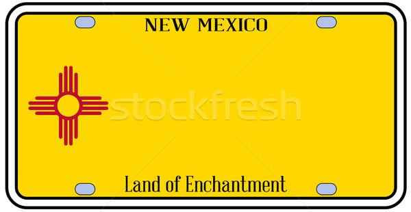 Stock foto: New · Mexico · Nummernschild · Farben · Flagge · Symbole · weiß
