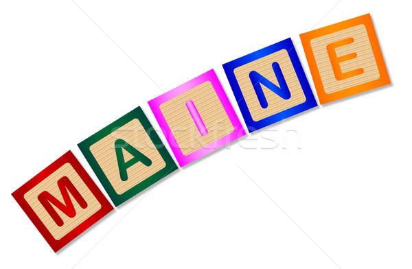 Maine houten brieven collectie spelling witte Stockfoto © Bigalbaloo