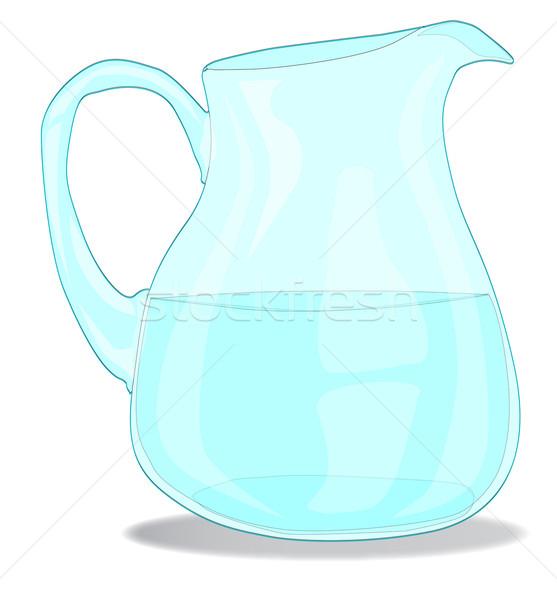 Agua jarra vidrio aislado blanco limón Foto stock © Bigalbaloo