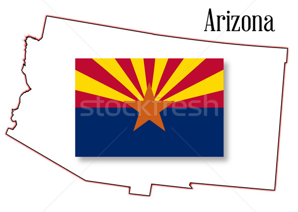 Arizona State Map and Flag Stock photo © Bigalbaloo