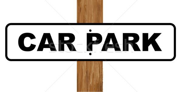 Parking signe blanc noir fixé bois pôle Photo stock © Bigalbaloo