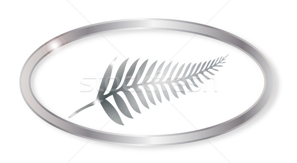 New Zealand Silver Fern Oval Button Stock photo © Bigalbaloo